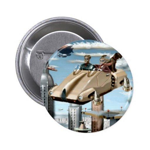 Flying Retro Future Car Pinback Button