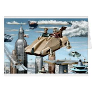 Flying Retro Future Car Card