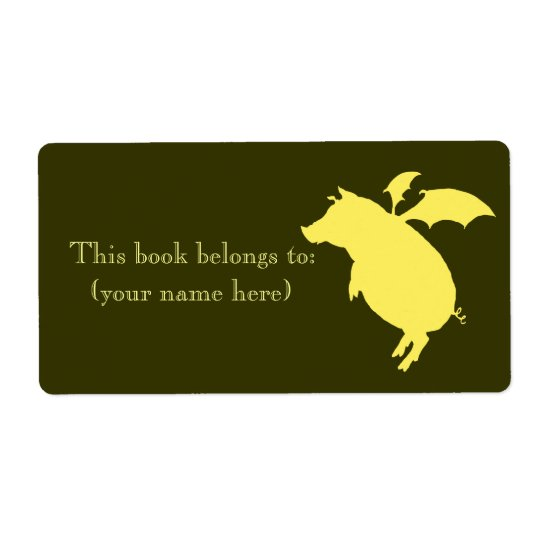 Flying retro piggy bookplate, square shipping label