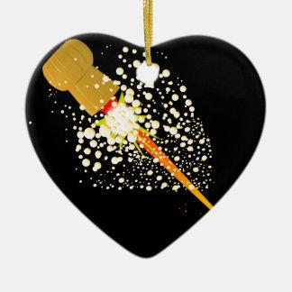 Flying Rocket Powered Cork Ceramic Heart Ornament
