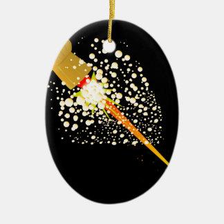Flying Rocket Powered Cork Ceramic Oval Ornament