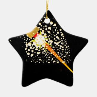 Flying Rocket Powered Cork Ceramic Star Ornament
