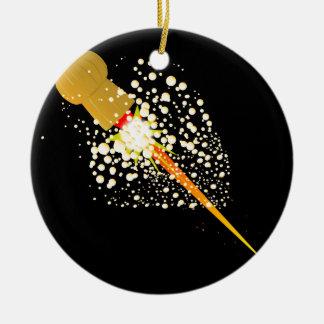 Flying Rocket Powered Cork Round Ceramic Ornament