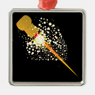 Flying Rocket Powered Cork Silver-Colored Square Ornament