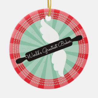 Flying rolling pin baker Christmas ornament