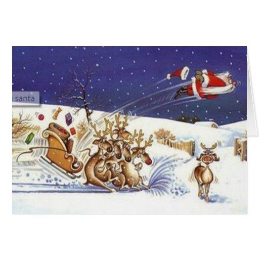 Flying santa beautiful reindeer funny christmas greeting for Funny reindeer christmas cards
