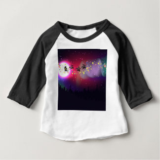 Flying Santa over Aurora Borealis Baby T-Shirt