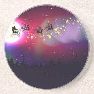 Flying Santa over Aurora Borealis Coasters