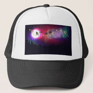 Flying Santa over Aurora Borealis Trucker Hat