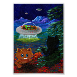 Flying Saucer UFO Black Cat Orange Tabby Poster
