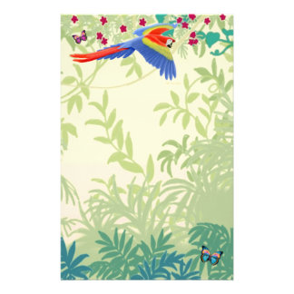 Flying Scarlet Macaw in Rainforest Stationery