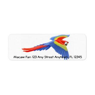 Flying Scarlet Macaw Label Return Address Label