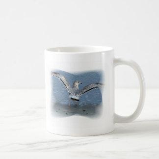 Flying seagull posterized basic white mug