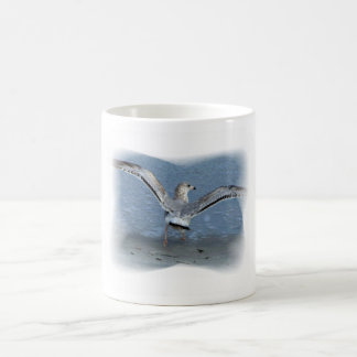 Flying seagull posterized classic white coffee mug