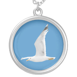 Flying seagull silver plated necklace