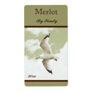 flying seagull wine bottle label