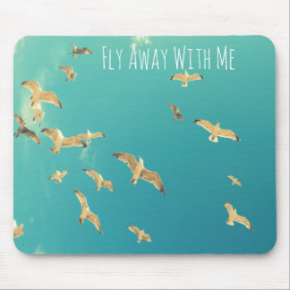 Flying seagulls on the sky, beautiful mouse mat mouse pad
