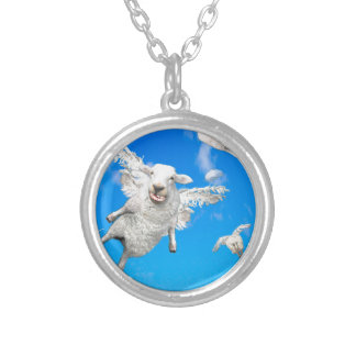 FLYING SHEEP 2 SILVER PLATED NECKLACE