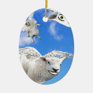 FLYING SHEEP 3 CERAMIC ORNAMENT