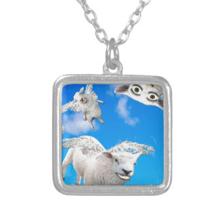FLYING SHEEP 3 SILVER PLATED NECKLACE