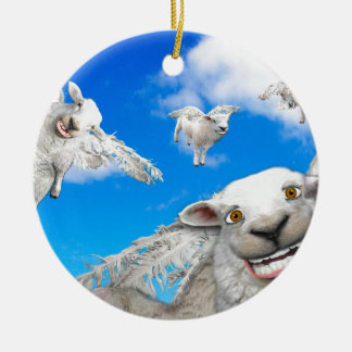 FLYING SHEEP 5 CERAMIC ORNAMENT