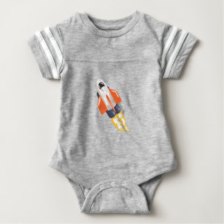 Flying Shuttle Spacecraft Fith Flames Coming From Baby Bodysuit