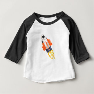 Flying Shuttle Spacecraft Fith Flames Coming From Baby T-Shirt