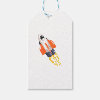 Flying Shuttle Spacecraft Fith Flames Coming From Gift Tags