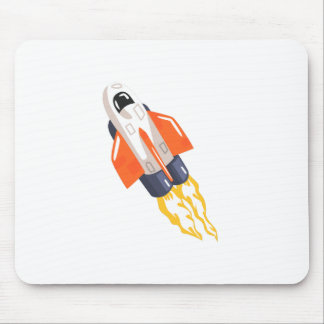 Flying Shuttle Spacecraft Fith Flames Coming From Mouse Pad