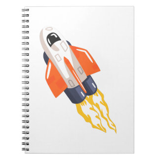 Flying Shuttle Spacecraft Fith Flames Coming From Notebook