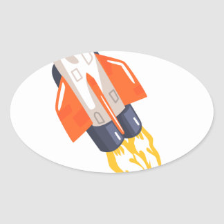 Flying Shuttle Spacecraft Fith Flames Coming From Oval Sticker