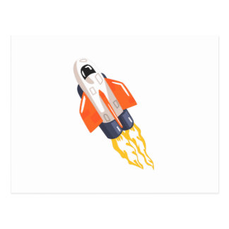 Flying Shuttle Spacecraft Fith Flames Coming From Postcard