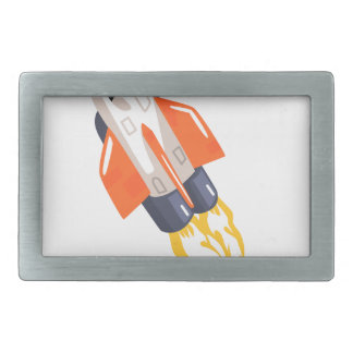 Flying Shuttle Spacecraft Fith Flames Coming From Rectangular Belt Buckle