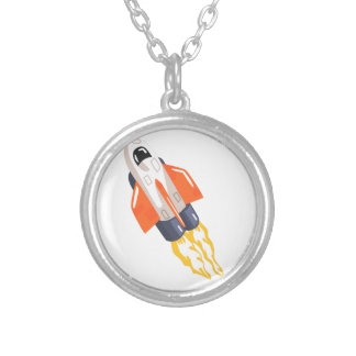 Flying Shuttle Spacecraft Fith Flames Coming From Silver Plated Necklace