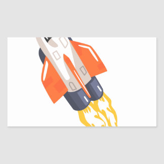 Flying Shuttle Spacecraft Fith Flames Coming From Sticker