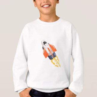Flying Shuttle Spacecraft Fith Flames Coming From Sweatshirt