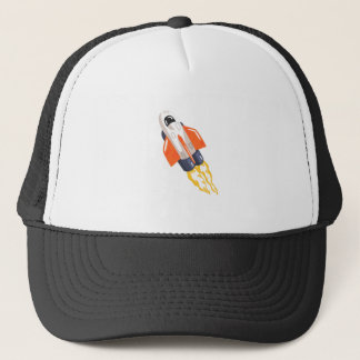 Flying Shuttle Spacecraft Fith Flames Coming From Trucker Hat