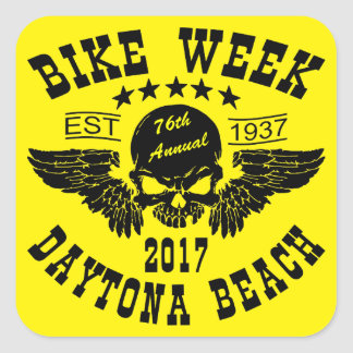 Flying Skull 76Th Daytona Beach Bike Week 2017 Square Sticker