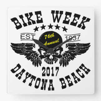 Flying Skull 76Th Daytona Beach Bike Week 2017 Square Wall Clock
