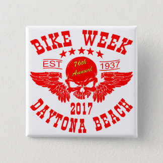 Flying Skull 76Th Daytona Beach Bike Week 2017r 2 Inch Square Button