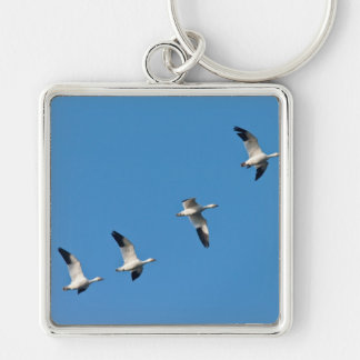 Flying Snow Geese Keychain
