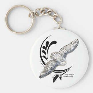 Flying Snowy Owl Basic Round Button Keychain