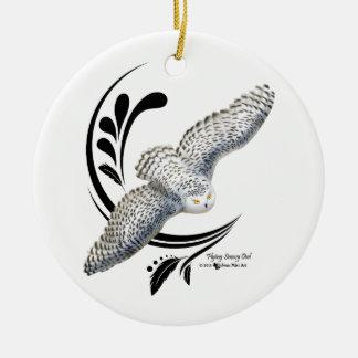 Flying Snowy Owl Ceramic Ornament