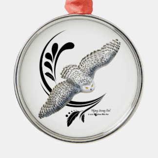 Flying Snowy Owl Metal Ornament