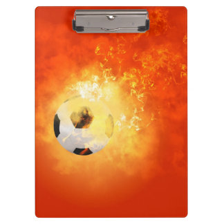 Flying soccer with flames clipboard