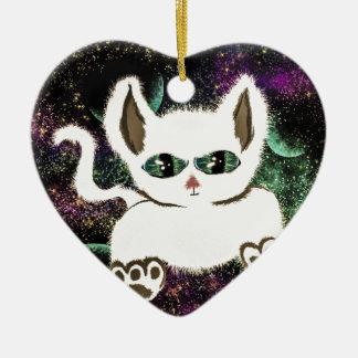 Flying Space Cat Ceramic Ornament