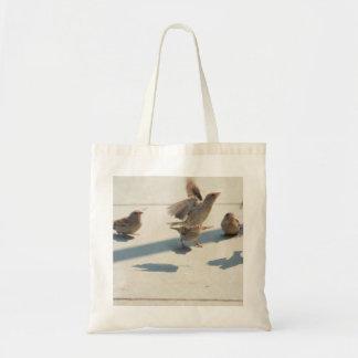 flying sparrows tote bag