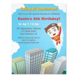 Flying Superhero Boy Birthday Party Invitations