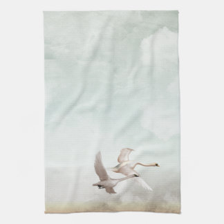 Flying Swans Hand Towel