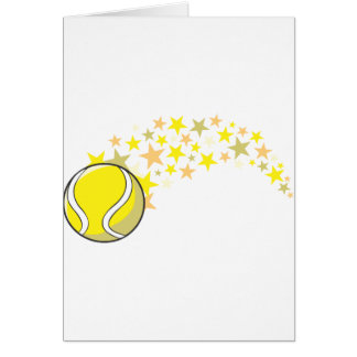 Flying Tennis Ball with Stars Greeting Card